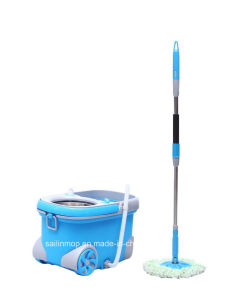 Hand Press Spin Mop with Steel Basket Bucket with Wheel (SL-S018)