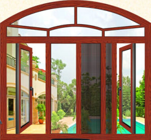 Tharmal Break Casement Aluminium Window with Gold Wooden Color