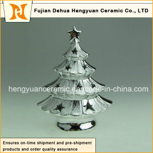 Silver Ceramic Christmas Tree Shape Stand Candle Holder for Home Decoration pictures & photos