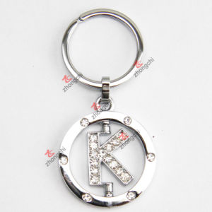 China Rotating Letter K Rhinestone Metal Keychain - China Letter K ... 20125b90b