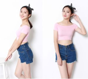 Factory Clothes Fashion Short Sleeve Knitted Cotton Women Crop Tops pictures & photos