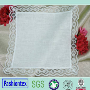 Wide Border Design White Cathedral Lace Handkerchief pictures & photos