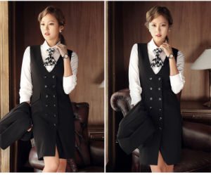 Made to Measure Fashion Stylish Ladies Long Vest Double Breasted Vest L51638 pictures & photos
