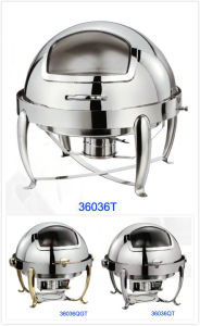 Round Roll-Top Chafing Dish Set with Glass Window Lid (36036T/36036QT/36036QGT) pictures & photos