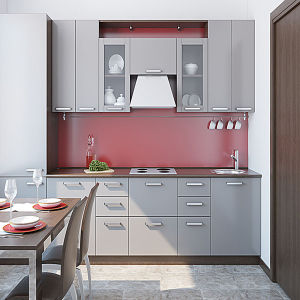 Simple Design Glossy Scratch Proof MDF Kitchen Cabinet (ZH-C036) pictures & photos
