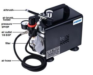As18bk Airbrush Set Kit Air Compressor Propellant Hose Hobby Tanning Tattoo Spray Gun pictures & photos