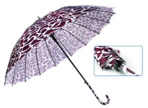 Water Ripple Print 16 Ribs Automatic Satin Umbrella (YS-SM23163901R)