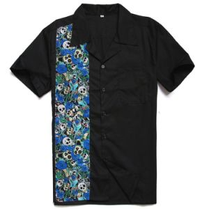 e406528ae02 Wholesale Drop Shipping Blue Skull Printed American Size Shirts for Men