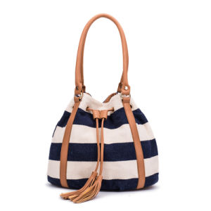 84b9fdd5e52 China Fashion Bucket Bag Women Canvas Bag Drawstring Tassel Handbag ...