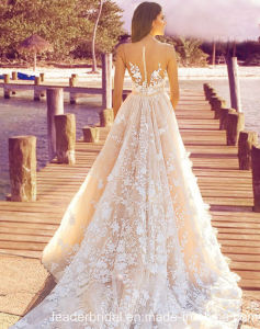 Sleeveless Wedding Dress A-Line Champagne Lace Bridal Gown L1782 pictures & photos