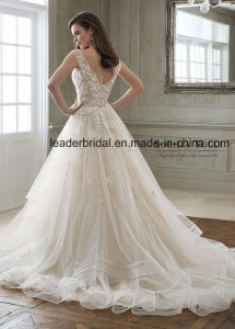 Beading Bridal Prom Dresses Pink Ivory Lace Wedding Dress E1825 pictures & photos