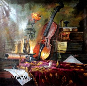 Handmade Musical Instrument Still Life Oil Painting For Home Decor