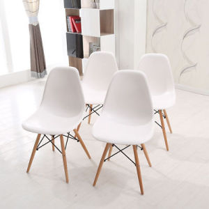 4X Modern Replica Eiffel Dining Chairs Wood Legs Dsw Kitchen Office Lounge  White Chair