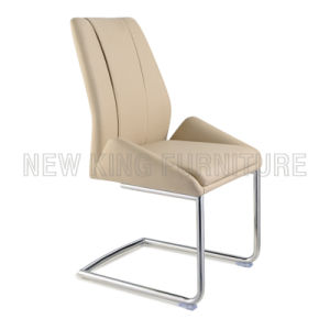 Luxurious Chrome Steel Foot PU Leather Dining Chair (NK-DC030)