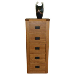 Solid Oak Wooden Furniture- 5 Drawer Chest