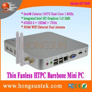 Ht730b Barebone Mini Box PC Intel Celeron C1037u Dual Core 1.80GHz with USB, VGA, WiFi