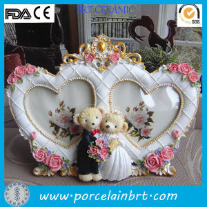 Beautiful Double Heart Love Photo Frame with Cute Bear pictures & photos