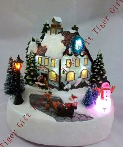 Polyresin Winter Scene Santa & Snowman W/LED Light and Music