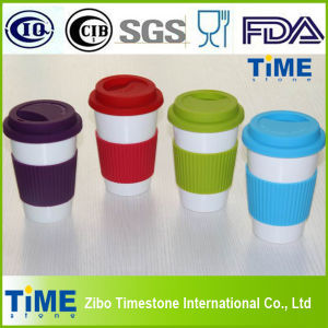 Ceramic Mug with Rubber Lid and Silicone Band, Coffee Mug Without Handle (082705) pictures & photos