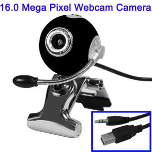USB 16.0 Mega Pixels Driverless PC Camera with Mic and 360 Degree Rotated (Black)