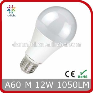 12W A60 E27 Plastic Coated Aluminum Globle LED Bulb