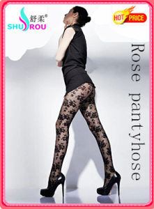 Fashion Sexy Rose Jacquard Tights Pantyhose Silk Socks Stockings for Women (SR-1283)