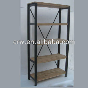 OA 4009 Metal Frame French Style Furniture Antique Bookshelf Wooden