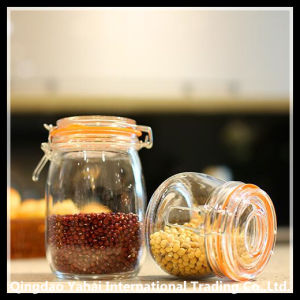 Set Clear Glass Storage Jar with Clip Lid pictures & photos
