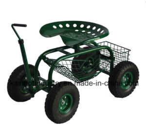 Long Handle Garden Rolling Seat Cart With Mesh Bucket Tc4501f