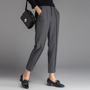 European Style Fashion Ffice Lady Slim Tweed Pants pictures & photos