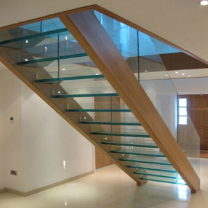 Indoor Stainless Steel L Shaped Staircase Design With Wooden Tread