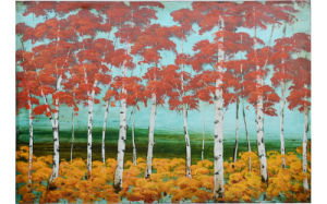 Hot Sale New Design Handmade Popular Abstract Red Forest Painting (LH-055000)
