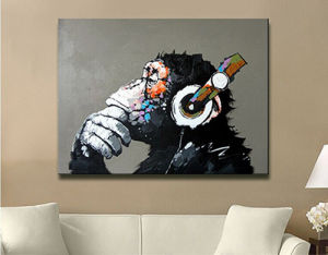 Hand Painted Abstract Animal Paintings For Room Decor Music Monkey Oil Painting On Canvas Hang Pictures Decoration Picture