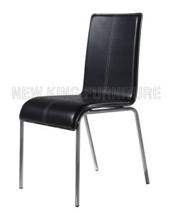 Modern Cheap Chrome Steel Foot PU Leather Dining Chair (NK-DC070)