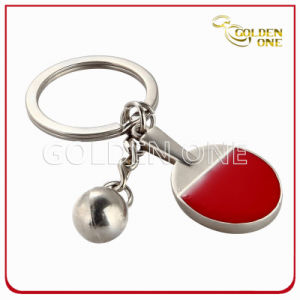 Table Tennis Racket Soft Enamel Epoxy Metal Keychain pictures & photos