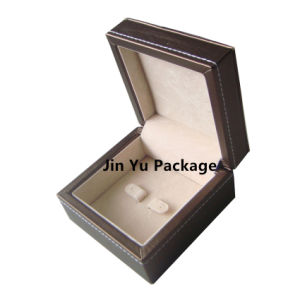 Black Wooden Faux Leather Jewelry Gift Packing Earring Case Box pictures & photos
