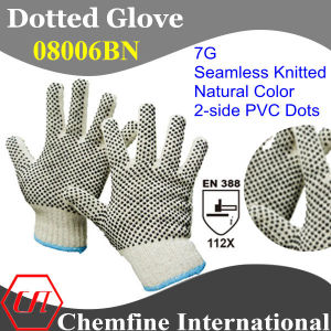7g Natural Color Polyester/Cotton Knitted Glove with 2-Side Black PVC Dots/ En388: 112X pictures & photos
