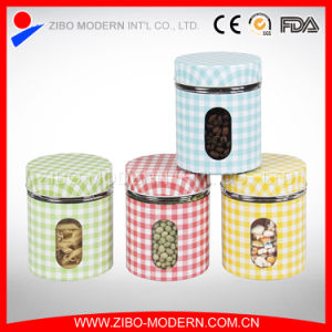 Steel Coating Glass Spice Jar Glass Canister Glass Storage Jar pictures & photos