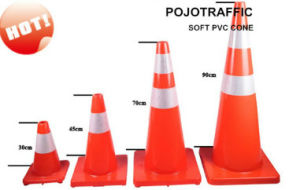 90cm Fluorescent Orange Road Safety PVC Traffic Flexible Cone