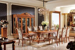 0062 1 Italian Solid Wood Luxury Antique Long Dining Table Set Furniture