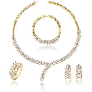 Dubai 18K 24K Gold Plated Jewelry Sets Luxury Diamond Party Jewellery