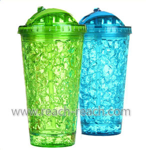 400ml Double Wall Plastic Ice Mug with Straw (R-7031) pictures & photos