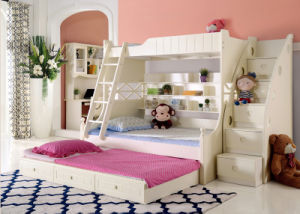 Korean Style Solid Wood Bunk Bed for Children Bedroom Furniture (9001)