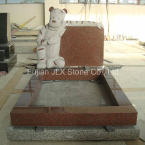 Ruby Red Granite Stone Tiger Carving Children Tombstone