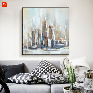 Muted Uptown Cityscape Oil Painting for Home Decor