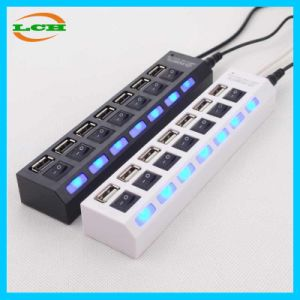 Independent Switch 7 Ports High Speed LED Light USB Hub pictures & photos