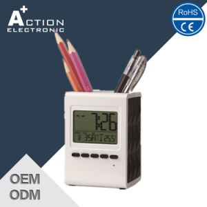 Digital Table Alarm Penholder Promotion Clock with Temperature pictures & photos