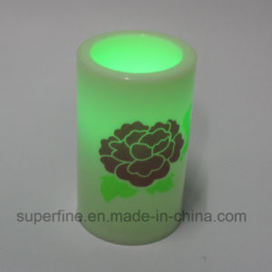 Imitation Flickering Elegent Plastic Flameless LED Candles with Peony Printed pictures & photos