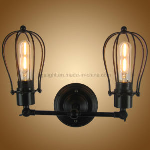 E27 Vintage Black Cage Two Lights Wall Mounted Sconces for Bedroom, Living  Room