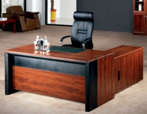 Simple Mdf Wood Veneer Office Table Set Design